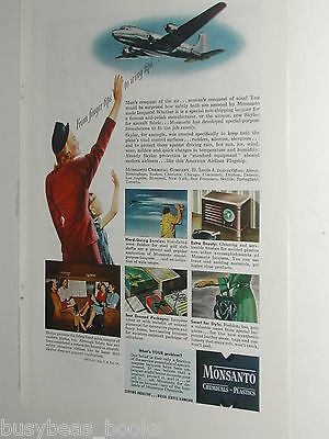 1946 Monsanto Chemical ad, plastics, American Airlines