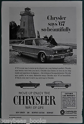 1967 CHRYSLER NEWPORT advertisement, Canadian ad, car next to wooden Lighthouse