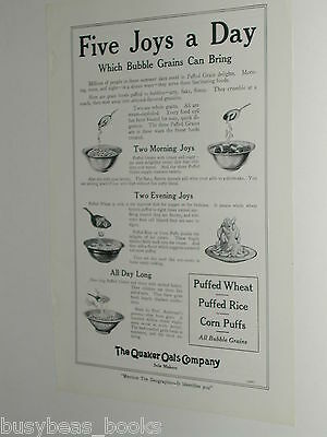 1920 Quaker Oats advertisement, Puffed Wheat, Rice, Corn, cereal