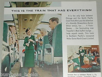 1956 Northern Pacific Railway ad, Stewardess-Nurse
