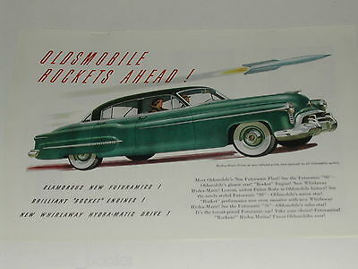 1950 Oldsmobile ad, color painting, Futuramic 98