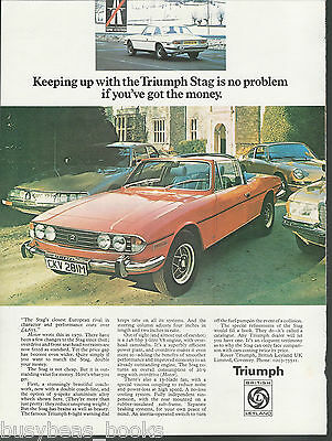 1974 TRIUMPH STAG advertisement, British Leyland Triumph, British advert