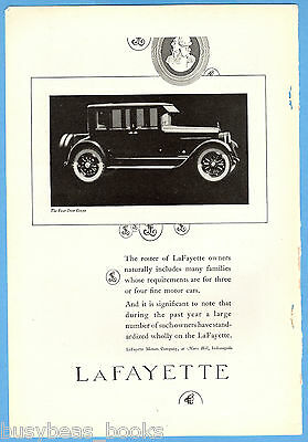1922 LAFAYETTE Automobile advertisement, vintage 4-door coupe