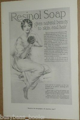 1915 RESINOL Soap advertisement, lady with hand mirror