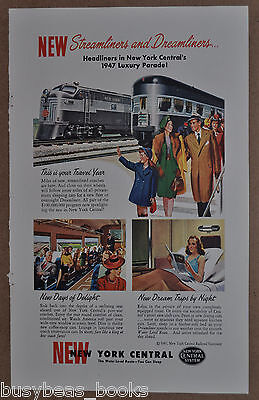 1947 NEW YORK CENTRAL RR advertisement, NYC, Streamliners & Dreamliners