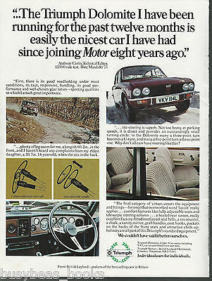1973 TRIUMPH DOLOMITE advertisement, British Leyland Triumph, British advert