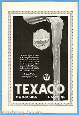 1923 TEXACO advertisement, Texas Company gasoline, motor oil