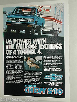1982 Chevrolet Pickup advertisement, Chevy S-10 pulling Prowler trailer