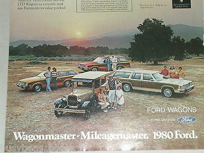 1980 Ford Station Wagon advertisement, LTD, Fairmont, Pinto, plus Model A Woody