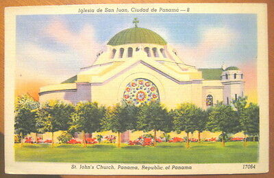 St. John's Church, Panama, picture postcard, Casa Central used in 1948 to US