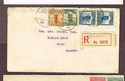 China To Canada Indian Head Sask Registered 1929  (Aym17