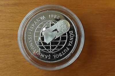 Turkey Sterling Silver 500 Lira Coin 1982 Proof Grade In Capsule Very Scarce...
