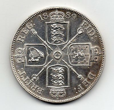 1889 Double Florin, Inverted 1 In Victoria, Rare