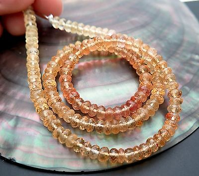 """142 Beautiful Aaaa+ Faceted Brazilian Imperial Topaz Beads 14"""" Full Strand"""