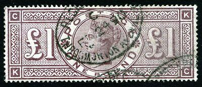 Victoria £1 Brown ~ Wmk Crowns Sg 185 ~ Oval Cancels ~ Good Used ~ Cat £2800