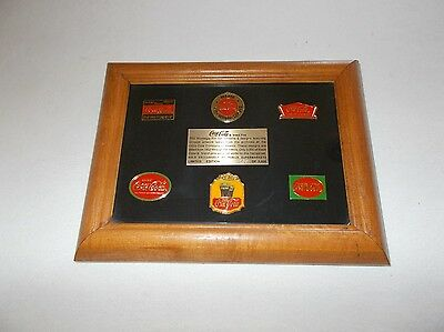 Rare framed 2551 of 3000 made Publix Supermarkets Coca Cola 6 piece pin set
