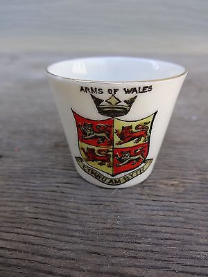 Vintage W. H. Goss Miniature Cup Arms of Wales Crest Excellent No Reserve