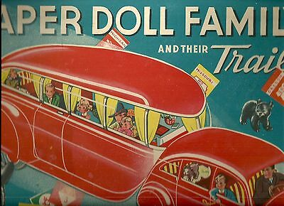1938 Paper Doll Family & Their Trailer Uncut Original Merrill 3436