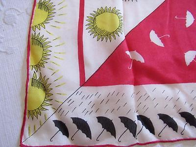 Vintage SILK Novelty Scarf  RAIN OR SHINE Umbrellas Rain Sun RED Black Yellow