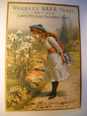 """WARNERS """"SAFE CURE"""" YEAST Victorian medicinal REMEDY TRADE CARD CHROMO girl"""