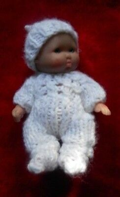 """Doll Clothes White Hand Knitted Sleeper 3 pc set fit Berenguer Baby 5"""" ooak 6"""