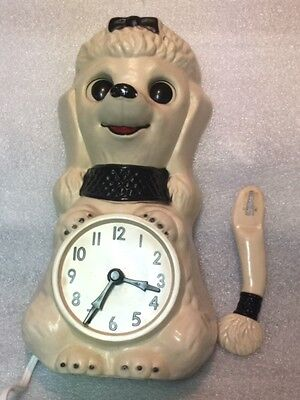 Vintage White Poodle Clock With Original Tail Eyes Animated California Clock Co