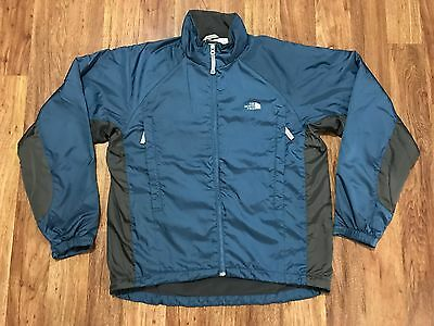Mens The North Face Citigroup Fleece Lined Windbreaker Zip Jacket S Blue Gray
