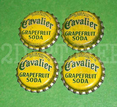 4 Cavalier Grapefruit Flavored Soda Vintage Drink Pop Cork Unused Bottle Caps