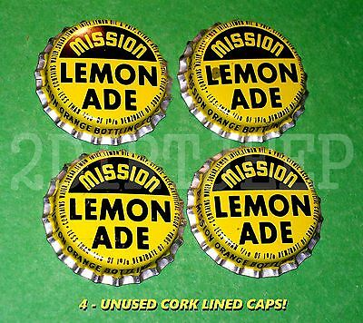 4 MISSION LEMON-ADE FLAVORED SODA 1960's OLD DRINK POP CORK UNUSED BOTTLE CAPS