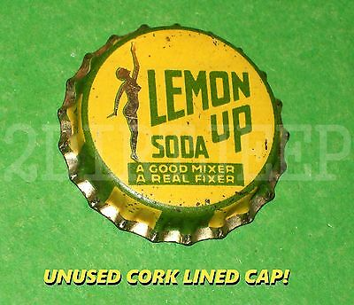 Slenderella Lemon Up Mixer Flavored Soda Pop Lady Vintage Cork Unused Bottle Cap