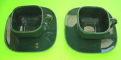 Vintage FRANCISCAN TIEMPO Dark Green Coffee Cup and Saucer Mid-Century Modern