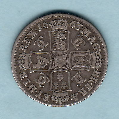 Great Britain. 1663  - Charles 11 Shilling..  aF/F
