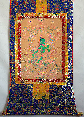 "32"" Blessed Brocade Wood Scroll Tibetan Thangka: Green Tara & Five Dhyani Buddha"