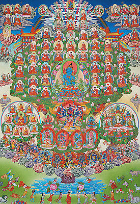 "50"" BLESSED BROCADE TIBETAN THANGKA SCROLL : VAJRADHARA Refuge Tree of Kagyupa"