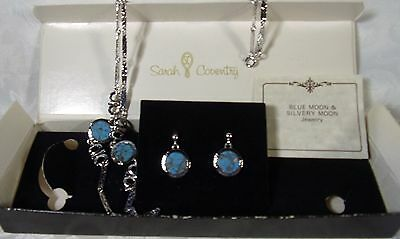 Vintage 1977 Sarah Coventry Set  Silvery Moon Jewelry Necklace Earrings Set NIB