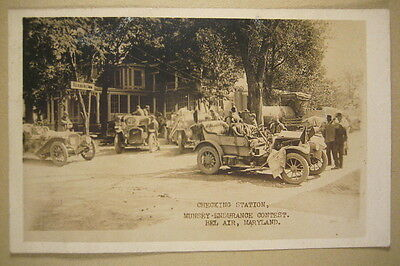 1910 RPPC Auto Checking Station Bel Air MD, Munsey-Endurance Contest Kenmore Inn