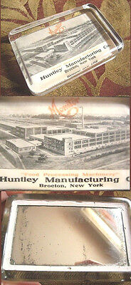 1930's HUNTLEY Manufacturing BROCTON NY Adv. PAPERWEIGHT Food Processing Machine