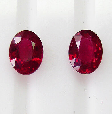 NATURAL RED 2.06ct!! RUBIES PIDGEON BLOOD MATCHING PAIR +CERTIFICATES INCLUDED