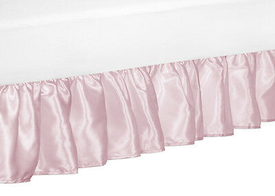 Solid Pink Satin Queen Size Bed Skirt Dust Ruffle For Sweet Jojo Alexa Bedding