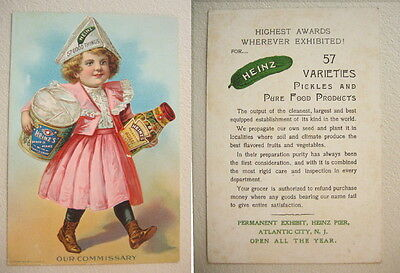 1900 Early Heinz Pickles, Preserves Pure Food Products Trade Card 57 Good Things