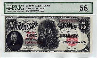 Fr.88 $5 1907 LEGAL TENDER NOTE PMG CHOICE ABOUT UNCIRCULATED 58