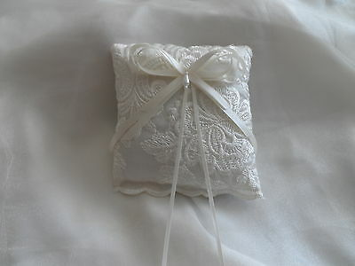 Ivory Embroidered Wedding Ring Cushion Hand Crafted