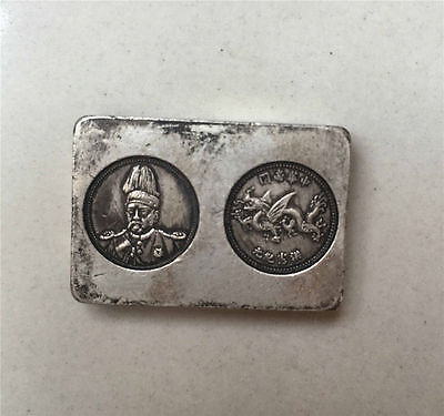 Rare Chinese Last Qing old handwork Tibet Miao silver soldier pay silver bar