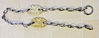 """2 TWO Vintage MORFORD Dairy Cow Brass Tags 41"""" Chain ea. tag is #142 Cattle Farm"""