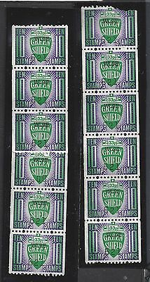 lot of 12 Green Shield 10 cent stamps 2 x strip of 3, 1 x strip of 6