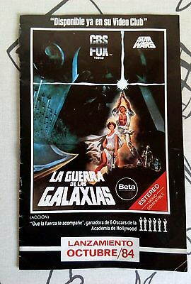 Star wars catalogo lanzamiento en beta/vhs