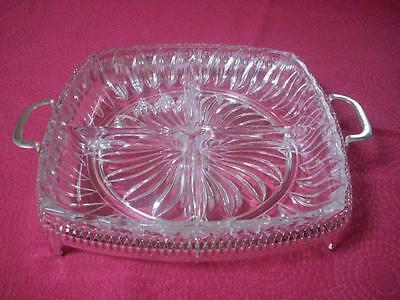 Gorgeous Glass Divided Serving Dish Clear Square With Silver Filigree Holder-Vg