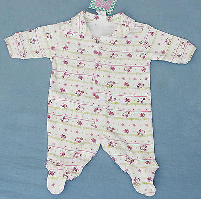 White Printed Cotton All-in-One Body Suit - Size 0