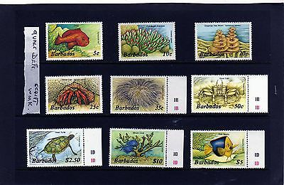 Barbados - 1986 - 87 Marine Life Set of 9 to $10 - No Imprint U/M SG794A - 809A