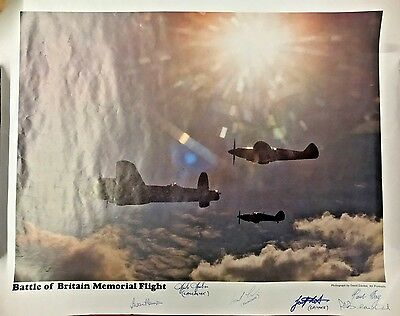 Battle Of Britain Memorial Flight Vintage Print Signed Pilots Lancaster.spitfire